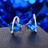 Favourer® Jewelry Earring, Brass, Rhombus, platinum plated, with cubic zirconia, blue, 13x17mm, Sold By Pair