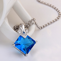 comeon® Jewelry Necklace, Brass, with 2lnch extender chain, Rhombus, platinum plated, rolo chain & with cubic zirconia, blue, 18x24mm, Length:Approx 17 Inch, Sold By Strand