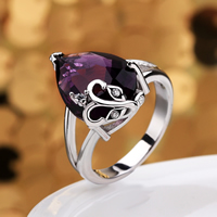 comeon® Finger Ring, Brass, Teardrop, platinum plated, different size for choice & with cubic zirconia, purple, 21x19mm, Sold By PC