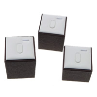 PU Ring Display, with Wood, Rectangle, two tone, 51x51x68mm, 51x51x57mm, 51x51x48mm, 3PCs/Set, Sold By Set