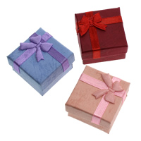 Cardboard Ring Box, with Grosgrain Ribbon & Silk, Square, more colors for choice, 40x40x27mm, Sold By PC