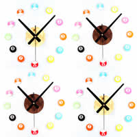 DIY Wall Clock, Acrylic, with Iron, plated, imitation wood, more colors for choice, nickel, lead & cadmium free, 300-700mm, Sold By PC
