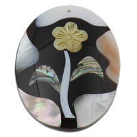 Natural Freshwater Shell Pendants, with Yellow Shell & Abalone Shell & Resin, Flat Oval, 40x52x9mm, Hole:Approx 1mm, Sold By PC