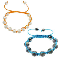 South Sea Shell Woven Ball Bracelet
