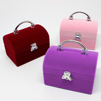 Velveteen Single Ring Box, with Cardboard & Zinc Alloy, Handbag, mixed colors, 59x39x55mm, 50PCs/Bag, Sold By Bag