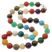 Gemstone Necklaces, brass lobster clasp, Round, multi-colored, 10x10mm, Length:Approx 18 Inch, Sold By Strand