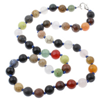 Gemstone Necklaces, brass lobster clasp, Round, multi-colored, 8x8mm, Length:Approx 17 Inch, Sold By Strand