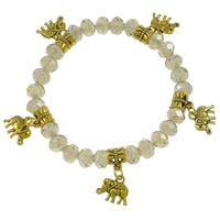 Crystal Bracelets, with Zinc Alloy, Elephant, antique gold color plated, faceted, Crystal, 15-18mm, 6x8mm, Length:Approx 7 Inch, 12Strands/Bag, Sold By Bag