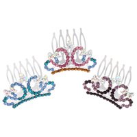 Decorative Hair Combs, Zinc Alloy, with Iron, Crown, silver color plated, with rhinestone, more colors for choice, nickel, lead & cadmium free, 40x43x24mm, Sold By PC