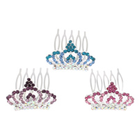Decorative Hair Combs, Zinc Alloy, with Iron, Crown, silver color plated, with rhinestone, more colors for choice, nickel, lead & cadmium free, 38x43x26mm, Sold By PC