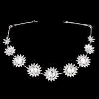 Bridal Frontlet, Zinc Alloy, with Glass & Brass, Flower, silver color plated, for bridal & faceted & with rhinestone, nickel, lead & cadmium free, 26x8mm, 300mm, Sold By PC