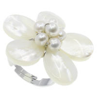 White Shell Cuff Finger Ring, with pearl & Brass, Flower, natural, adjustable, white, 31x11mm, Size:7.5, 36PCs/Box, Sold By Box