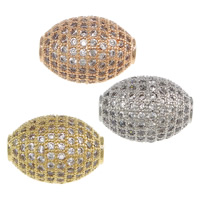 Cubic Zirconia Micro Pave Brass Beads, Oval, plated, micro pave cubic zirconia, more colors for choice, nickel, lead & cadmium free, 16x12mm, Hole:Approx 2.5mm, Sold By PC