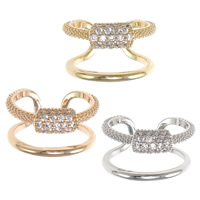 Cubic Zirconia Micro Pave Brass Finger Ring, plated, different size for choice & micro pave cubic zirconia, more colors for choice, nickel, lead & cadmium free, 13mm, Sold By PC