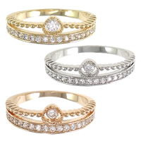 Cubic Zirconia Micro Pave Brass Finger Ring, plated, different size for choice & micro pave cubic zirconia, more colors for choice, nickel, lead & cadmium free, 6mm, Sold By PC