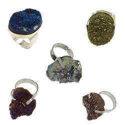 Natural Quartz Druzy Finger Ring