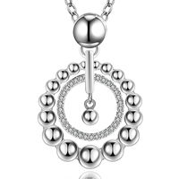 comeon® Jewelry Necklace, Brass, real silver plated, oval chain & micro pave cubic zirconia, 35x24mm, Length:Approx 18 Inch, Sold By Strand