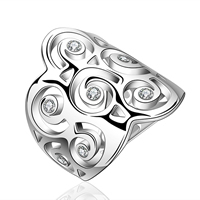comeon® Finger Ring, Brass, real silver plated, different size for choice & micro pave cubic zirconia, 21x24mm, Sold By PC