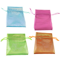Polyamide Drawstring Pouches, with Nylon Cord, Rectangle, more colors for choice, 110x120x3mm, Sold By PC