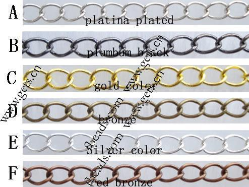 Iron Extender Chain, plated, more colors for choice, 5x4x0.7mm, Length:50-60 mm, Sold By PC