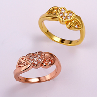 comeon® Finger Ring, Brass, Heart, plated, different size for choice & micro pave cubic zirconia, more colors for choice, 7mm, Sold By PC