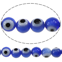 Evil Eye Lampwork Beads, Round, evil eye pattern, blue, 4mm, Hole:Approx 0.5mm, Length:Approx 16 Inch, Approx 105PCs/Strand, Sold By Strand