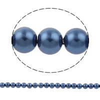 Glass Pearl Beads, Round, different size for choice & Customized, blue, Grade AAA, Hole:Approx 1mm, Length:Approx 15.7 Inch, Sold By Strand