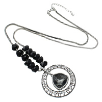 Zinc Alloy Sweater Chain Necklace, with iron chain & Glass & Acrylic, with 3lnch extender chain, plumbum black color plated, box chain & faceted & with rhinestone, nickel, lead & cadmium free, 56x6mm, 27x32x10mm, 8x13mm, 2.5mm, Length:Approx 30 Inch, Sold By Strand