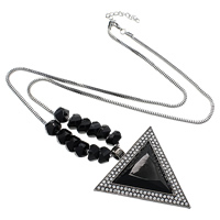 Zinc Alloy Sweater Chain Necklace, with iron chain & Acrylic, with 2.5lnch extender chain, Triangle, plumbum black color plated, box chain & faceted & with rhinestone, nickel, lead & cadmium free, 69x75x8mm, 8x13mm, 2.5mm, Length:Approx 31 Inch, Sold By Strand
