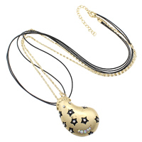 Zinc Alloy Sweater Chain Necklace, with iron chain & PU, with 3lnch extender chain, Eggplant, gold color plated, lantern chain & 3-strand & enamel & with rhinestone, nickel, lead & cadmium free, 37x60x8.5mm, 2mm, 1mm, Length:Approx 30 Inch, Sold By Strand