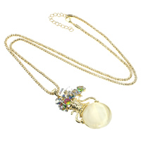 Zinc Alloy Sweater Chain Necklace, with iron chain & Cats Eye & Crystal, with 2lnch extender chain, Vase, gold color plated, lantern chain & with rhinestone, nickel, lead & cadmium free, 37x63.5x15mm, 3mm, Length:Approx 30 Inch, Sold By Strand