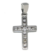 Cubic Zirconia Micro Pave Sterling Silver Pendant, 925 Sterling Silver, Cross, plated, micro pave cubic zirconia, more colors for choice, 11x18x2mm, Hole:Approx 2.5x4mm, Sold By PC