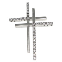 Cubic Zirconia Micro Pave Sterling Silver Pendant, 925 Sterling Silver, Cross, plated, micro pave cubic zirconia, more colors for choice, 27x38x3mm, Hole:Approx 1x2.5mm, Sold By PC
