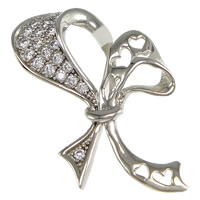 Cubic Zirconia Micro Pave Sterling Silver Pendant, 925 Sterling Silver, Bowknot, plated, micro pave cubic zirconia, more colors for choice, 18x23x3mm, Hole:Approx 3.5x7mm, Sold By PC