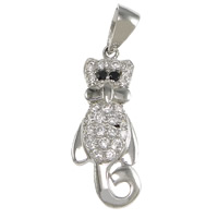 Cubic Zirconia Micro Pave Sterling Silver Pendant, 925 Sterling Silver, Cat, plated, micro pave cubic zirconia, more colors for choice, 10x25x4.5mm, Hole:Approx 3.5x5mm, Sold By PC