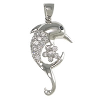 Cubic Zirconia Micro Pave Sterling Silver Pendant, 925 Sterling Silver, Dolphin, plated, micro pave cubic zirconia & hollow, more colors for choice, 16.5x30x7mm, Hole:Approx 3x5mm, Sold By PC