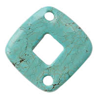 Turquoise Connector, Rhombus, 1/1 loop, green, Hole:Approx 5mm, Sold By PC