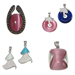 Cats Eye Stainless Steel Pendant