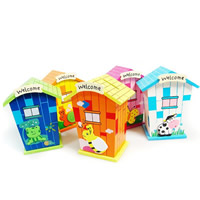 Money Box, Wood, brushwork, with letter pattern & mixed, 93x60x123mm, Sold By PC