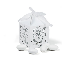 Paper Wedding Candy Box, with Satin Ribbon, Cube, hollow, white, 55x55x55mm, Sold By PC