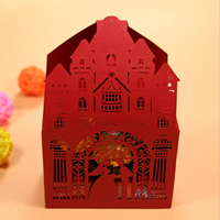 Paper Wedding Candy Box, hollow, red, 57x88x140mm, Sold By PC