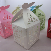 Paper Wedding Candy Box, Cube, hollow, mixed colors, 50x50x50mm, Sold By PC