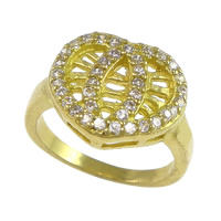 Cubic Zirconia Micro Pave Brass Finger Ring, Heart, plated, micro pave cubic zirconia & hollow, more colors for choice, nickel, lead & cadmium free, 15x14mm, US Ring Size:6, Sold By PC