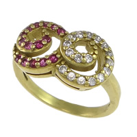 Cubic Zirconia Micro Pave Brass Finger Ring, plated, micro pave cubic zirconia, more colors for choice, nickel, lead & cadmium free, 17.5x10mm, US Ring Size:7.5, Sold By PC
