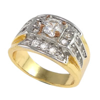 Cubic Zirconia Micro Pave Brass Finger Ring, plated, micro pave cubic zirconia & two tone, nickel, lead & cadmium free, 13mm, US Ring Size:8, Sold By PC