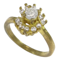 Cubic Zirconia Micro Pave Brass Finger Ring, Flower, plated, micro pave cubic zirconia, more colors for choice, nickel, lead & cadmium free, 11mm, US Ring Size:7, Sold By PC