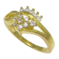Cubic Zirconia Micro Pave Brass Finger Ring, Flower, plated, micro pave cubic zirconia, more colors for choice, nickel, lead & cadmium free, 10.5mm, US Ring Size:8, Sold By PC
