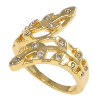 Cubic Zirconia Micro Pave Brass Finger Ring, Leaf, plated, micro pave cubic zirconia & hollow, more colors for choice, nickel, lead & cadmium free, 21mm, US Ring Size:6, Sold By PC