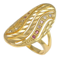 Cubic Zirconia Micro Pave Brass Finger Ring, Flat Oval, plated, flower cut & micro pave cubic zirconia & hollow, more colors for choice, nickel, lead & cadmium free, 26mm, US Ring Size:6, Sold By PC
