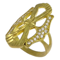 Cubic Zirconia Micro Pave Brass Finger Ring, plated, flower cut & micro pave cubic zirconia, more colors for choice, nickel, lead & cadmium free, 24mm, US Ring Size:5, Sold By PC